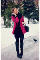 Hands-a-porte coat - Paolo Conte boots - Vila dress - asos scarf - Gaude bag