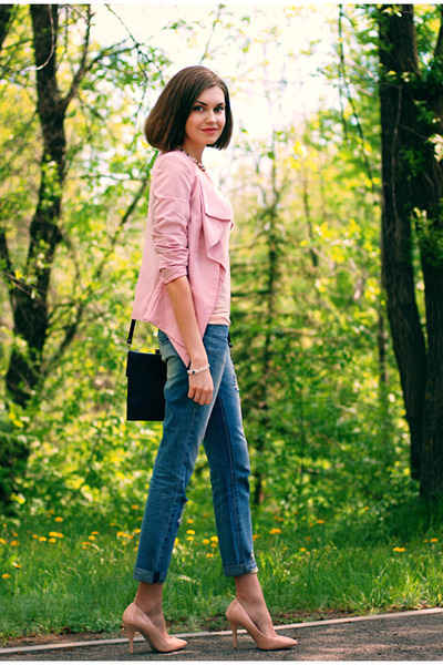 pink Sheinside blazer - periwinkle asos jeans - navy River Island bag