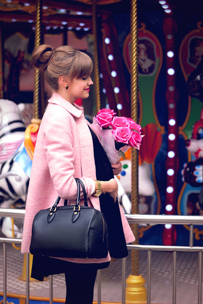 black The White Pepper dress - bubble gum Zara coat - black Gaude bag