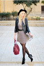 Black-asos-boots-crimson-zara-dress-black-forever-21-hat-maroon-zara-bag