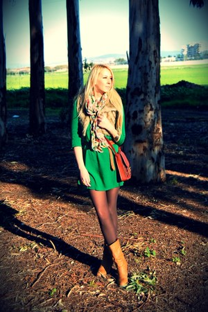green Mango dress - light pink Forever 21 scarf - tawny H&M bag