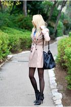 beige asos coat - black Zara heels