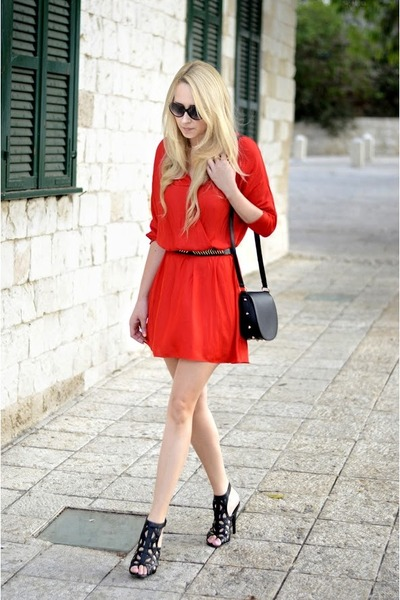 red Zara dress - black H&M bag
