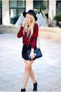 Red-zara-top-black-zara-skirt