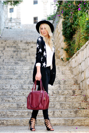black Mango cardigan - white Mango blouse - black Zara heels