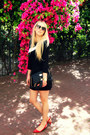 Black-zara-dress-black-river-island-bag-red-bershka-pumps