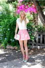 Ivory-oasis-shirt-salmon-oasis-skirt-aquamarine-primark-heels