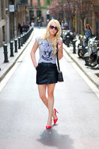 red Stradivarius heels - black Mango skirt - silver Zara t-shirt