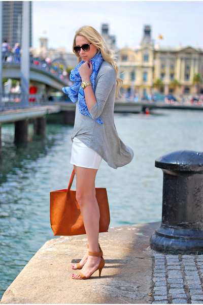 burnt orange pull&bear bag - blue Forever 21 scarf - white H&M skirt
