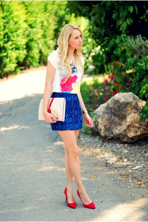 blue Zara skirt - white Zara t-shirt - red pull&amp;bear heels