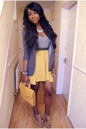 white necklace - light purple blazer - cream bag - silver top - cream skirt