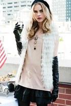 black hat - light pink blouse - black leather gloves - black leather skirt