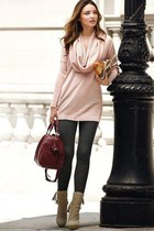 light pink blouse - camel boots - black leggings - magenta bag