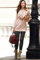 light pink blouse - camel boots - black leggings - magenta bag