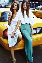 white t-shirt - white skirt - white blouse - turquoise blue maxi skirt