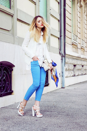 blue scarf - off white blazer - white shirt - off white clutch bag