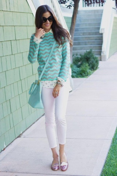 aquamarine stripes sweater - ivory polka dots shirt - aquamarine bag