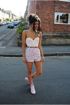 white sleeveless top - light pink shorts - bubble gum converse sneakers
