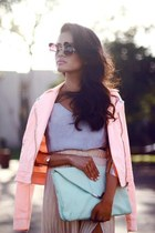 eggshell glasses - light pink jacket - aquamarine clutch bag - periwinkle blouse