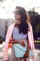 eggshell glasses - light pink jacket - aquamarine clutch bag - periwinkle blouse
