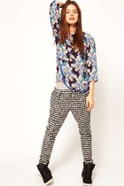 purple asos pants - black asos blouse