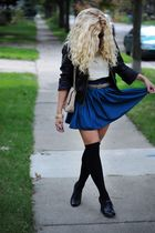 blue American Apparel skirt - beige American Apparel belt - black Ciao Bella sho