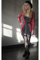 red BDG cardigan - black Unlisted boots - gray Silence  Noise dress