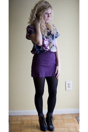 purple American Apparelel skirt - purple ecote top - black Deena &amp; Ozzy boots - 