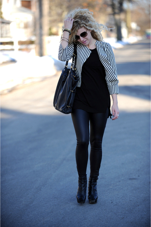 black faux leather rachel rachel roy leggings - black wedge Aldo boots