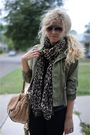 Brown-h-m-scarf-beige-badgley-mischka-purse-black-silencenoise-pants-green