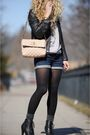 Brown-gap-jacket-blue-bdg-shorts-gray-silencenoise-sweater-black-deena-and