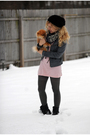 Gray-for-joseph-jacket-pink-american-apparel-dress-blue-free-people-scarf-