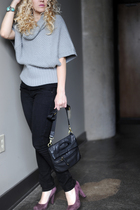 gray sweater - black Guess jeans - purple BCBG shoes - black BCBG purse