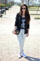 black Bershka blazer - light blue Zara jeans - black Pimkie bag