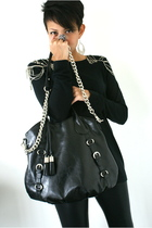 Zara top - black Topshop leggings - black White House Black Market purse