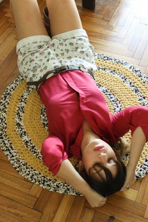 crimson Zara boots - hot pink thrifted shirt - dark brown asoscom sunglasses