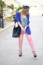 blue vintage blazer - light pink Bershka jeans - black Zara bag
