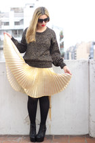 gold pleated vintage skirt - black litas Jeffrey Campbell boots