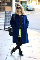 navy thrifted vintage coat - lime green Zara dress