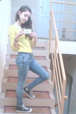 yellow Zara blouse - black Converse shoes - sky blue skinny jeans Zara jeans