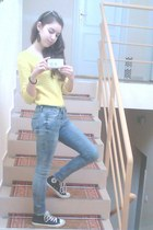 yellow Zara blouse - black Converse shoes - sky blue skinny jeans Zara jeans