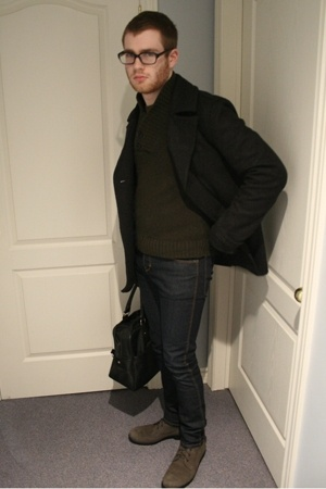 Urban Outfitters coat - H&M sweater - H&M jeans - Topman purse - Style sense boo