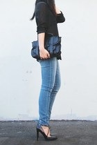 black t by alexander wang top - sky blue Zara jeans