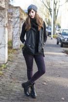 black Duffy boots - deep purple H&M jeans - gray bommelME hat