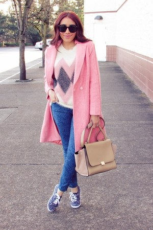 light pink OASAP coat - nude Chicwish bag
