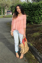 peach materia girl blouse - aquamarine Forever 21 shoes - white jeans