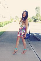 deep purple skirt - navy bag - white t-shirt - aquamarine Forever 21 heels
