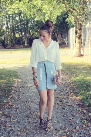 sky blue choiescom skirt - white Forever 21 blouse