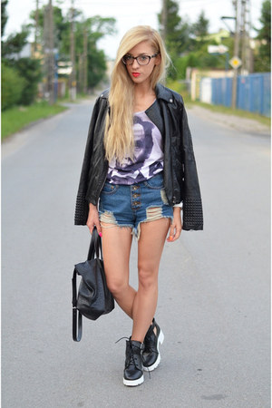 jacket - boots - shorts - top