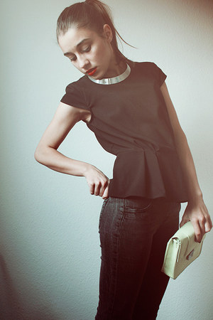black peplum H&amp;M top - lime green H&amp;M bag - silver collar H&amp;M necklace